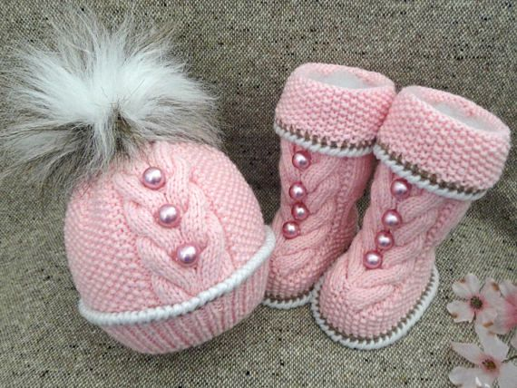 Knitting PATTERN Knitted Baby Set Baby Shoes Baby Beanie