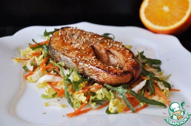 Тёплый салат из лосося с апельсиновым соусом ингредиенты