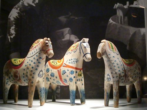The exhibition of Dala horses in Dalarnas Museum in Falun, Sweden.
