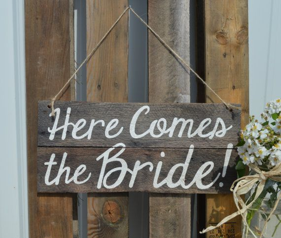 Rustic Pallet Ring Bearer Sign Here Comes the Bride by RuralBliss, $25.00