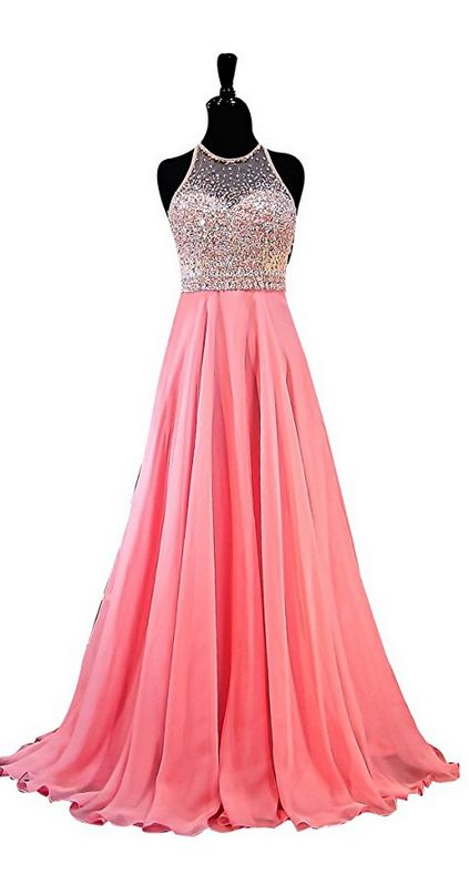 Jewel Sleeveless Rhinestone Beads Chiffon A Line Evening Dress