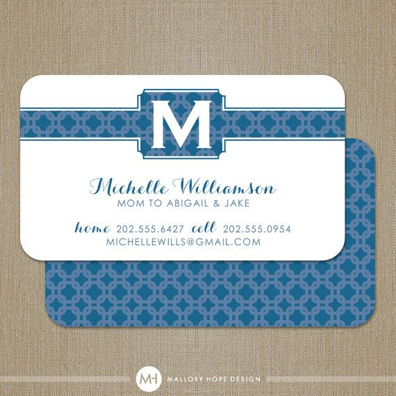 Preppy Mom Initial Personalized Business Card / Calling Card / Mommy Card - CUSTOMIZE Colors and Content