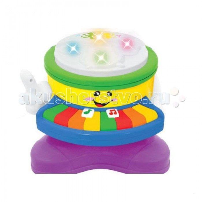 Музыкальная игрушка Kiddieland Барабан-пианино  Музыкальная игрушка Kiddieland Барабан-пианино познакомит малыша  с приёмами игры на пианино и барабане, а также научить его различать звуки различных музыкальных инструментов. Игрушка имеет забавный мультяшный дизайн с нарисованной физиономией, корпус имеет плавные очертания, без острых углов и выступов.  Игрушка снабжена световыми и звуковыми эффектами и позабавит кроху веселыми мелодиями и звуками фортепиано, саксофона, флейты, бубна и…