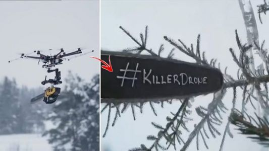 Drone with chainsaw attached seems to be powerful!    Credit: Caters News Agency #news #alternativenews