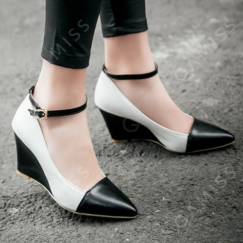 Stylish Color Block and Pointed Toe Design Wedge Shoes For Women