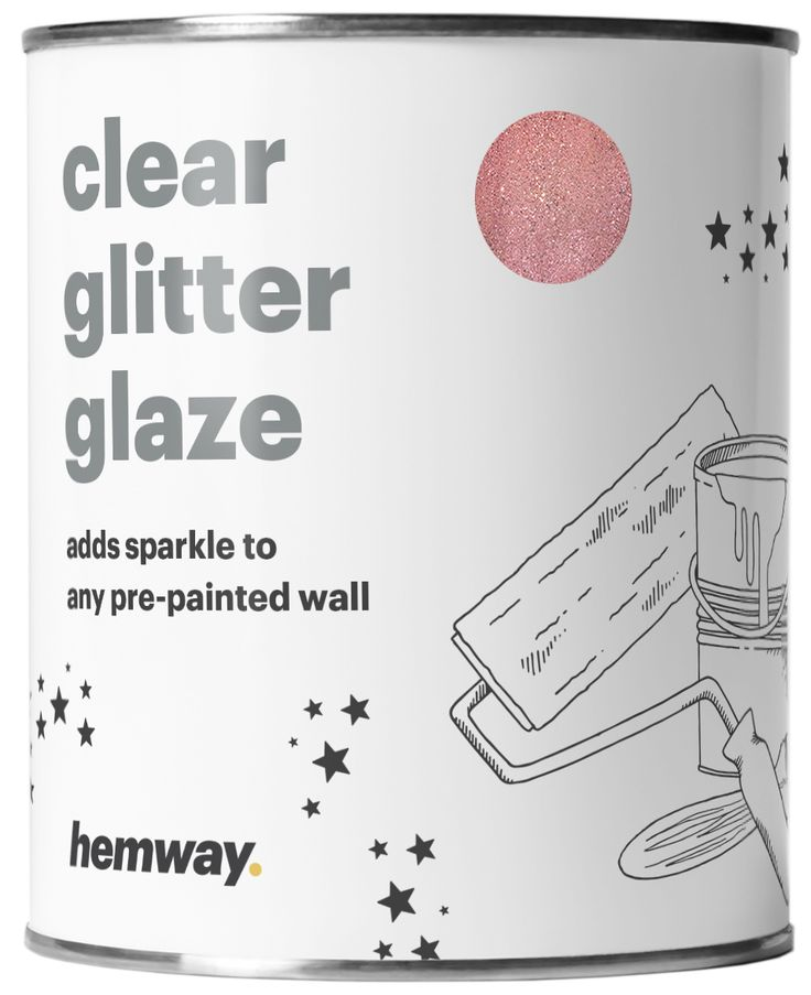 Hemway 1L Clear Glitter Paint Glaze for Pre-Painted Walls (Rose Gold Glitter) - Acrylic, Latex, Emulsion, Ceiling, Wood, Varnish, Dead flat, Matte, Soft Sheen or Silk (CHOICE OF 25 GLITTER COLOURS)