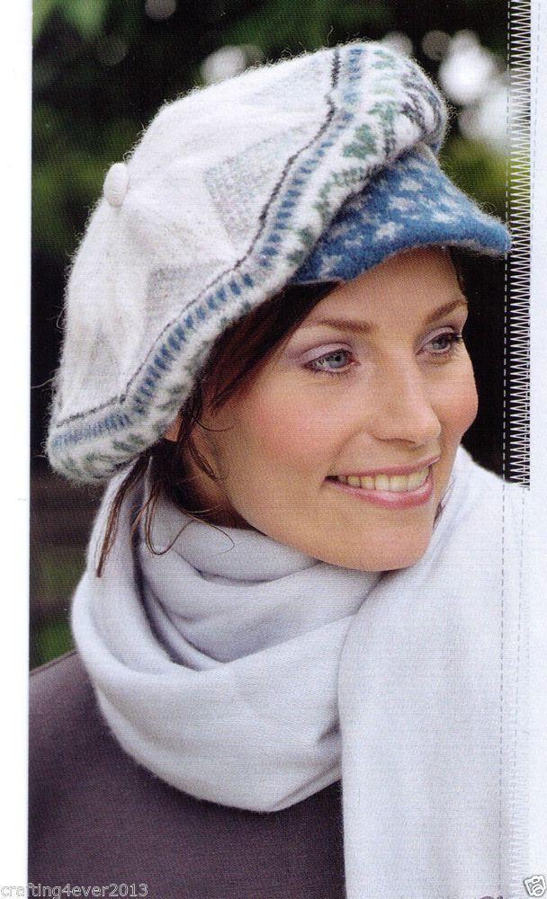 WOMEN'S FAIR ISLE BAKER BOY CAP WINTER HAT BERET SIZE 55CM 4PLY KNITTING PATTERN