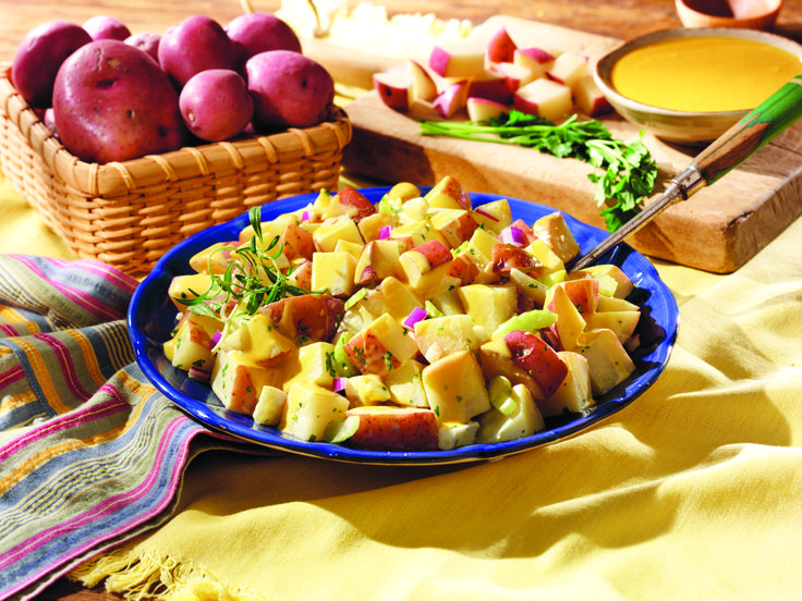 Golden Potato Salad. A side dish for your 4th of July party! #recipe # ...