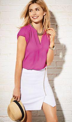 wear to work womens look 2 - @reitmans - June 2014 - cute for work - fushia blouse  white skirt