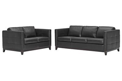 Baxton Studio Rohn Black Leather Modern Loveseat and Sofa Set | couch and loveseat | sofa sets Price:$961.00