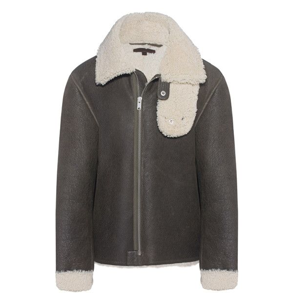 YEEZY Military Dark // Shearling jacket (€1.369) ❤ liked on Polyvore featuring men's fashion, men's clothing, men's outerwear, men's jackets, mens military jacket, mens dark denim jacket, mens military style jacket and mens shearling jacket