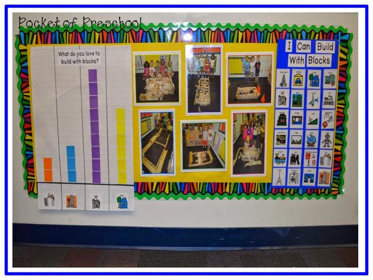 Blocks Center:  Building Builders by adding graphs, charts, and photographs all about building!  Pocket of Preschool