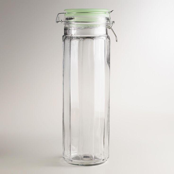extra large glass clamp jars with jadeite lids set of 4 jars storage and world. Black Bedroom Furniture Sets. Home Design Ideas