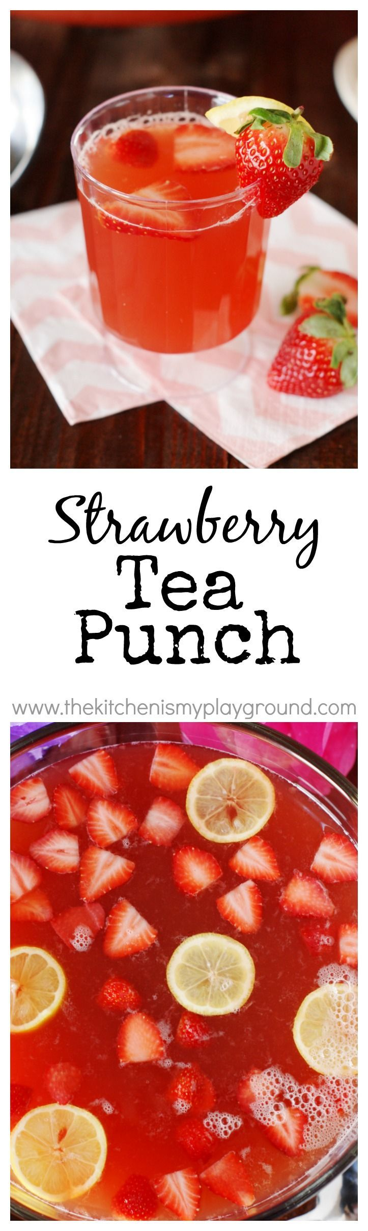 Strawberry Tea Punch ~ A amazingly delicious, crowd-pleasing punch!  Perfect for a tea party, bridal shower, or brunch.  #LiptonTeaTime sponsored   http://www.thekitchenismyplayground.com