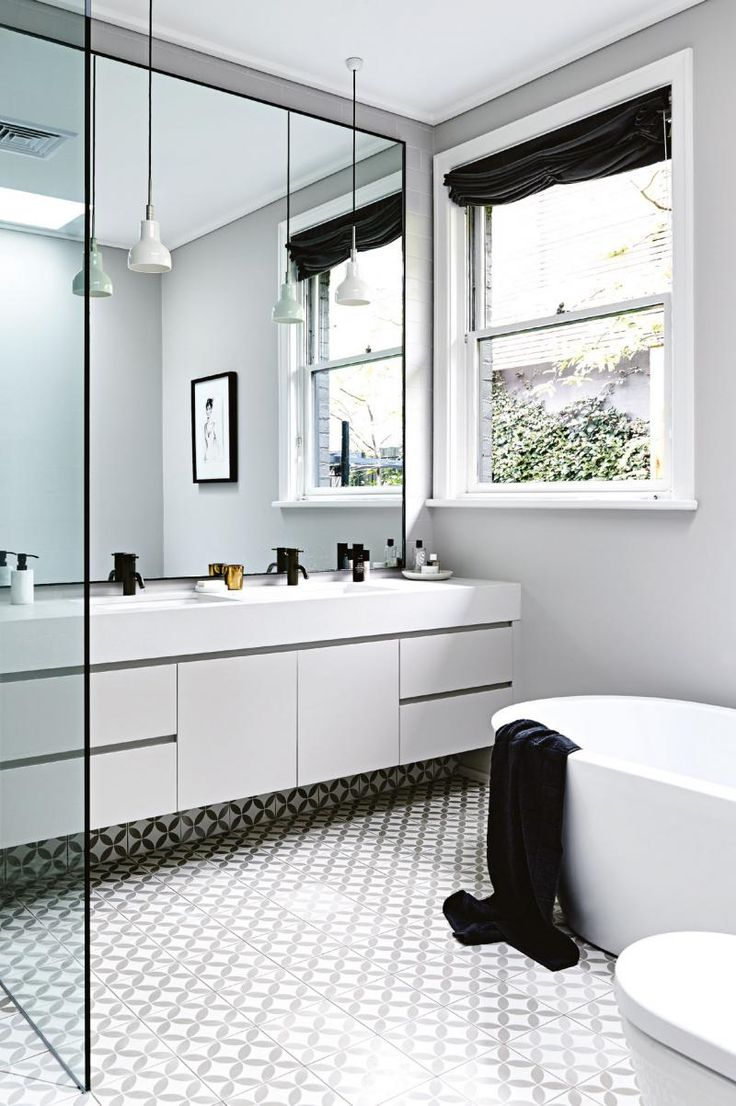 floor, full wall mirror to consider, hanging lights over mirror, open shower, free standing bath, deep countertop