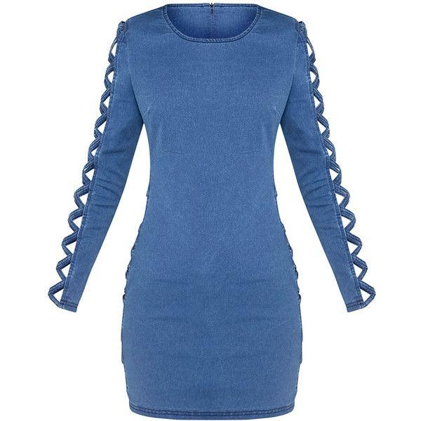 Hesta Mid Wash Lattice Detail Denim Bodycon Mini Dress ($14) ❤ liked on Polyvore featuring dresses, blue denim dress, short bodycon dresses, blue bodycon dress, body conscious dress and short denim dress