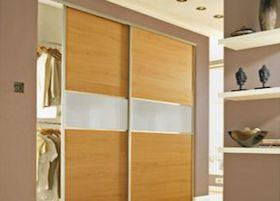 Homebase Fineline Oak Effect White Glass Sliding Door