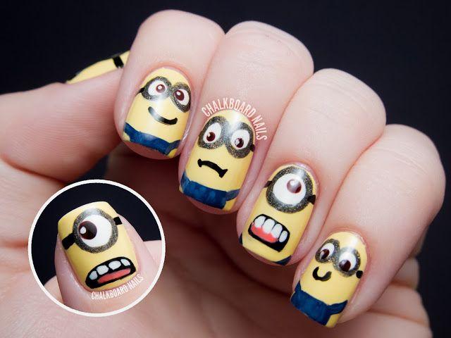 Chalkboard Nails: MINIONS!! - Despicable Me Nail Art #minions #despicableme #nailart