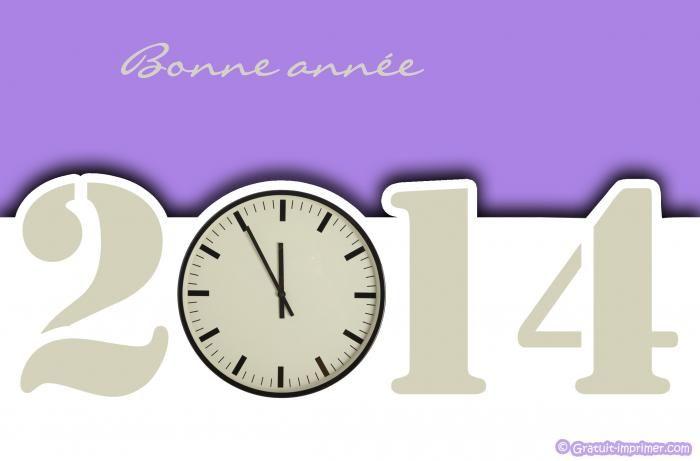 CARTE BONNE ANNÉE 2014 GRATUITE A IMPRIMER