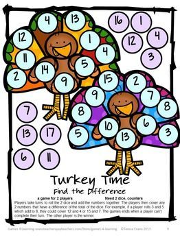 Turkey Math Games Addition and Subtraction from Games 4 Learning is a collection of 7 Math Board Games with a turkey theme. $