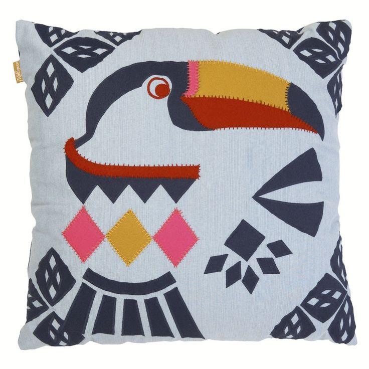 kussen 60 x 60 cm sierkussen vrolijk stoer toekan vogel fluor denim vilt - malagoon.com
