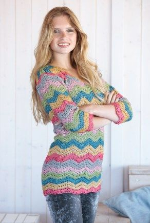 Crochet ripple pullover sweater, free pattern