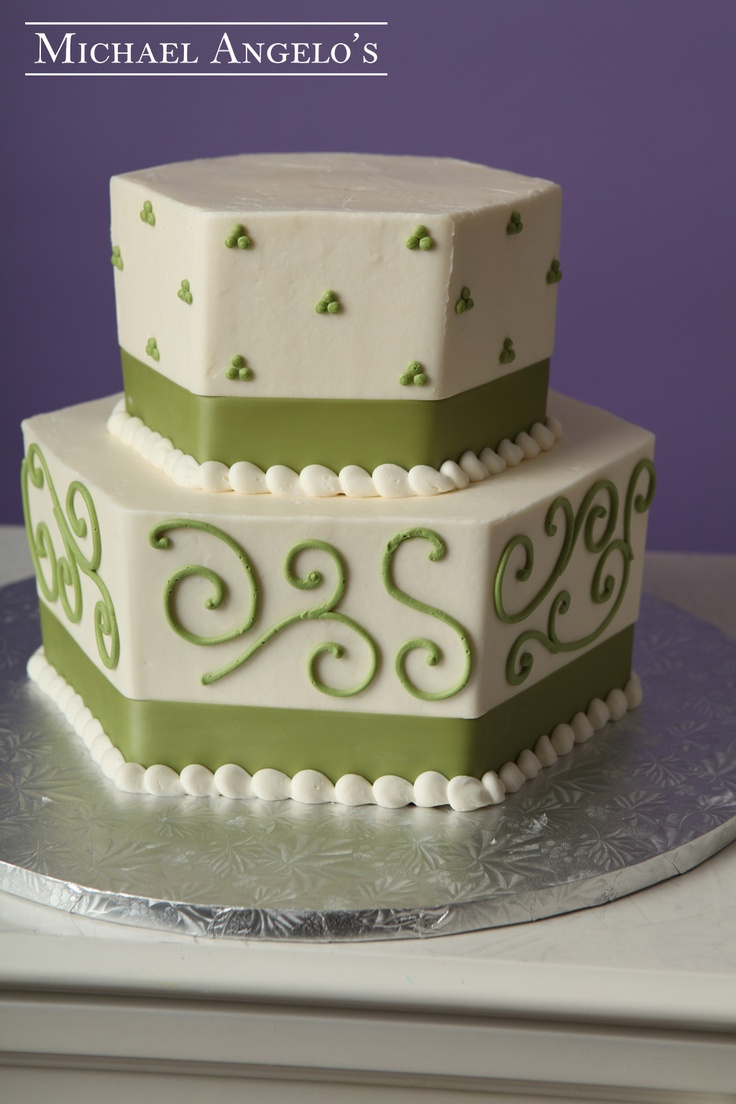 Simple Green Swirl #92Ribbons his is a two-tier hexagon shaped cake with a simple swirl and petite polka dot design. The ribbon surrounding matches perfectly and can be in any color of preference.