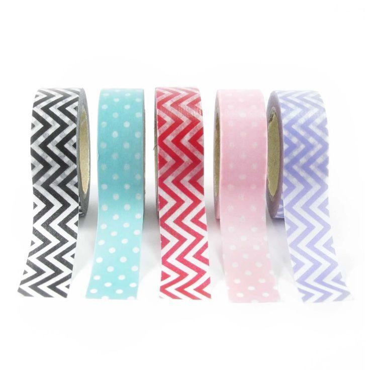Set da 5 washi tape a tema geometrico con pois e chevron bianchi.