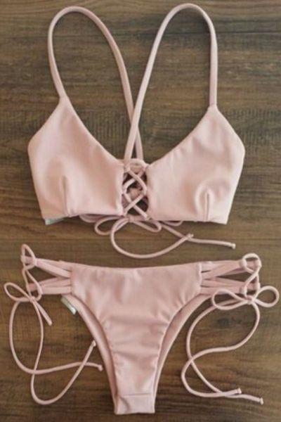 Spaghetti Strap Lace-Up Pink Bikini Set