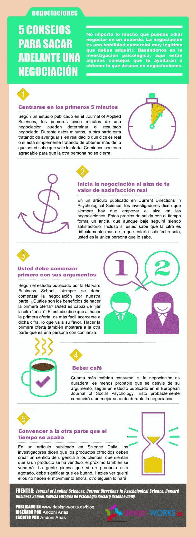 5 consejos para sacar adelante una negociación #infografia #infographic