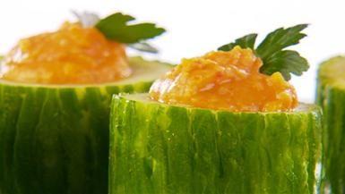 Giada De Laurentiis - Roasted red pepper hummus in cucumber cups