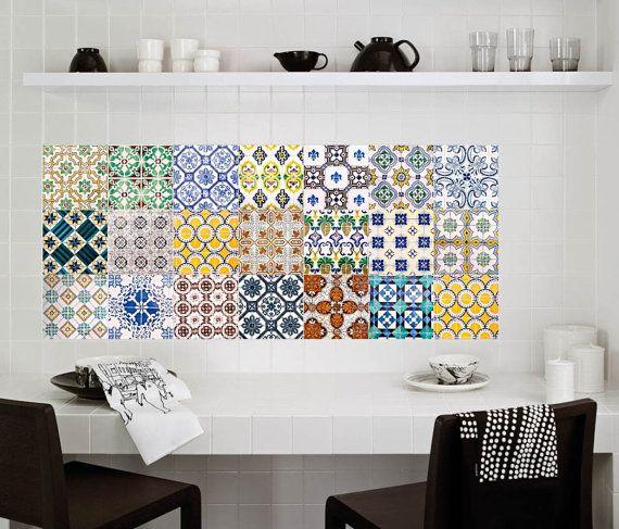 Etiquetas calcomanías Stickers - calcomanías de azulejos - azulejos del azulejo para cocina o baño - PACK de 20 - México, Marruecos, Portugal, España, mosaico