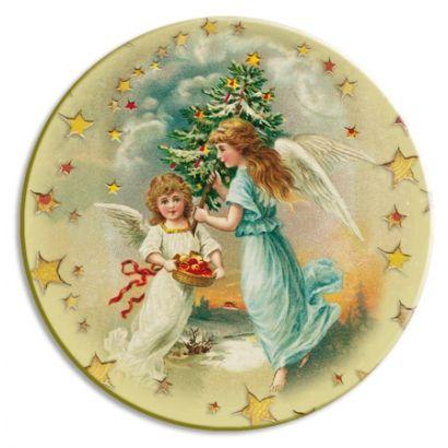 Christmas Angels Papier Mache Ball Box Ornament