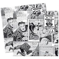 Tegneserie servietter med superhelte motiver i sort og hvid