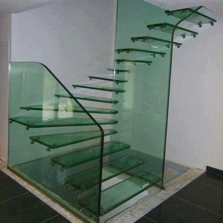 Escada vidro Verde temperado