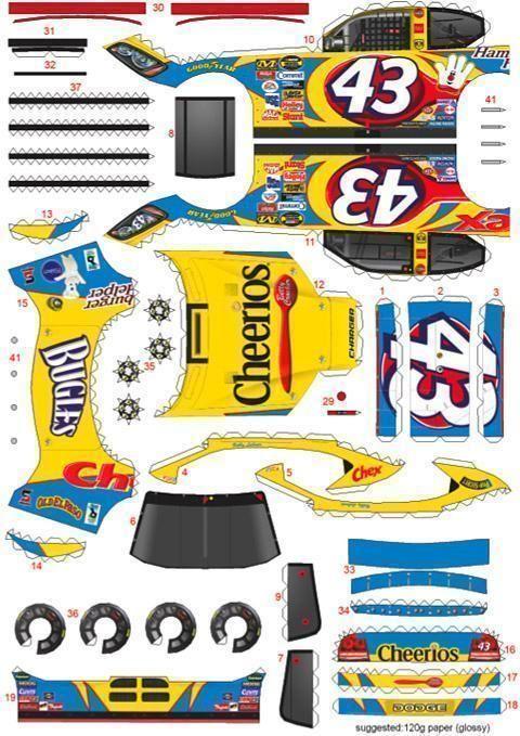 O site NASCAR Paper Models tem vários modelos de papel na Nascar. Os carros de papel são muito bem feitos e as imagens são super detalhadas. Você pode baixar arquivos PDF de carros de três montadoras diferentes: Dodge, Ford, Chevrolet e de vários pilotos. Os carros da foto acima são o Dodge #43 Bobby Labonte…