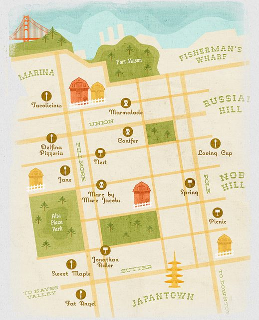I love the illustration on this San Francisco shopping map by What Katie Does. It'll come in handy for my trip there in September!