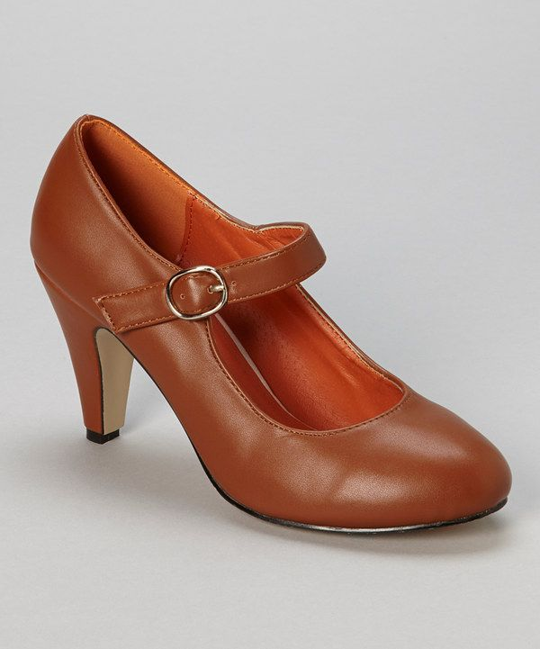 Look at this Chase & Chloe Brown Kimmy Mary Jane Pump on #zulily today!