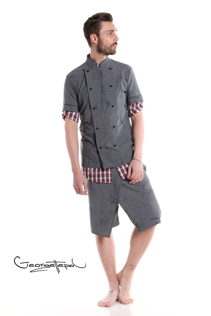 Jacket grey canvas - Plaid red shirt - Bermuda grey canvas #bermuda #canvas #fashion #man #painted #summer #jacket #chef #grey #shirt #plaidshirt #red #black #style #georgettepol