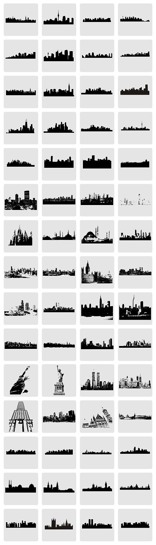 Vector City Skylines and Monuments
