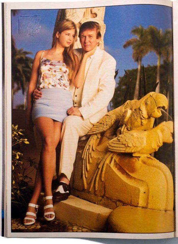 Here's a pic of Ivanka gazing at her father (who said he'd bang if she wasn't his daughter) sitting on a statue of two parrots having sex.
