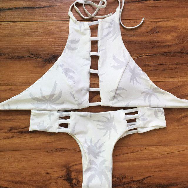 Sexy High Neck Bikini Bandage Swimwear Cut Out Swimsuit Retro Halter Bikini Set Brazilian Printed Summer Beach Suit 20