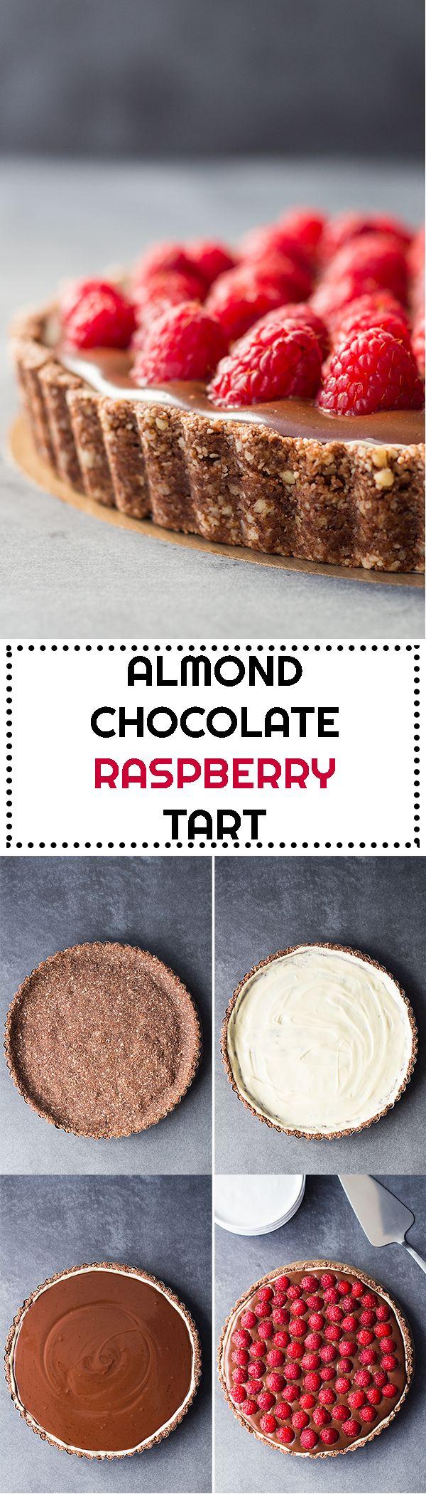 A gluten-free, refined-sugar-free, delicious Almond Chocolate Raspberry Tart made with a vegan almond crust and vegan dark chocolate cream.