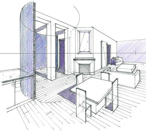 Les croquis et perspectives permettent de visualiser rapidement un volume en 3D et de comprendre l'intégration des cloisons cintrées Philippe Ponceblanc Architecte d'intérieur