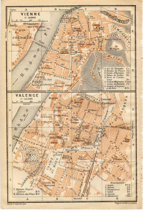 1914 Vienne Valence France Antique Map Vintage by Craftissimo
