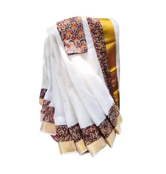 Buy Kalamkari Print Kerala Set saree from DevotionalStore. Kalamkari is a type of hand printed saree . The print is artistically merged with traditional Kerala Saree.#kerala sarees online kerala sarees online shopping #kerala traditional wear #kalamkari sarees #Kalamkari Kerala Saree Online #Kalamkari Kerala Saree