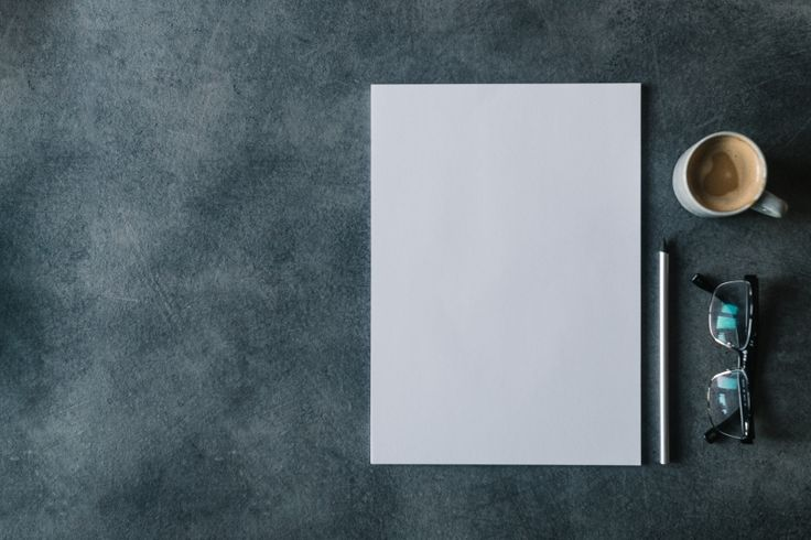 FREE STOCK PHOTO: Blank white paper with pencil, glasses and cup of coffee