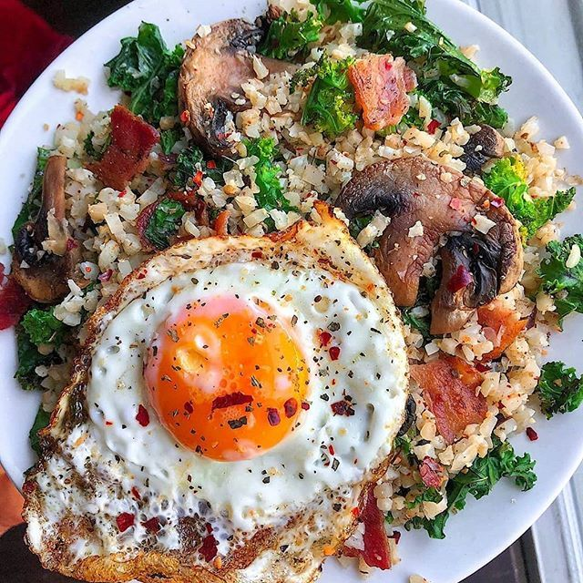 Sautéed at breakfast 😎 Used leftover cauliflower rice mixed with …   – Healthy Foods