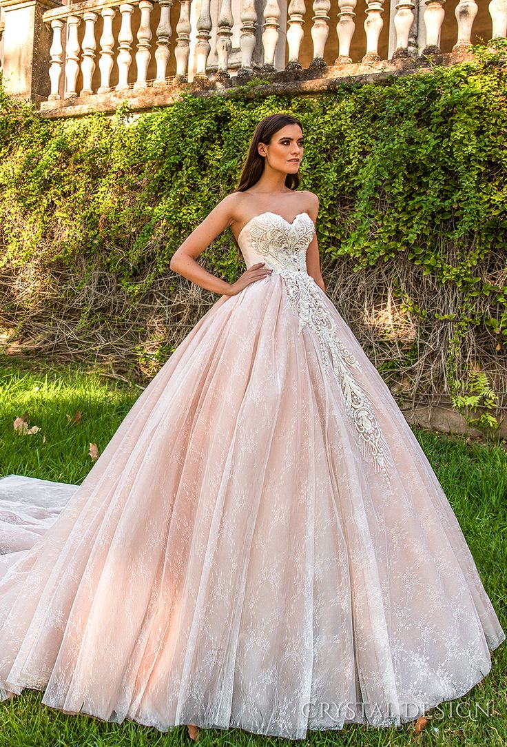crystal design 2017 bridal strapless sweetheart neckline heavily embroidered bodice pink princess ball gown a  line wedding dress royal train (marvella) mv