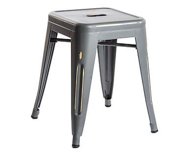 Sgabello in acciaio grigio, 38x38x46 cm
